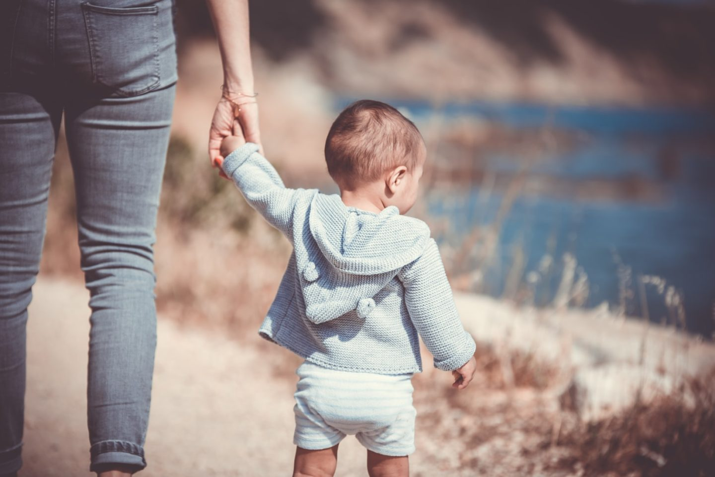 small boy and parent holding hands
